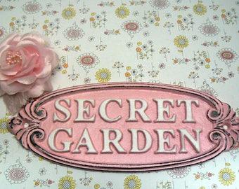 Secret Garden Gate Cast Iron Sign Pink White Wall Plaque
