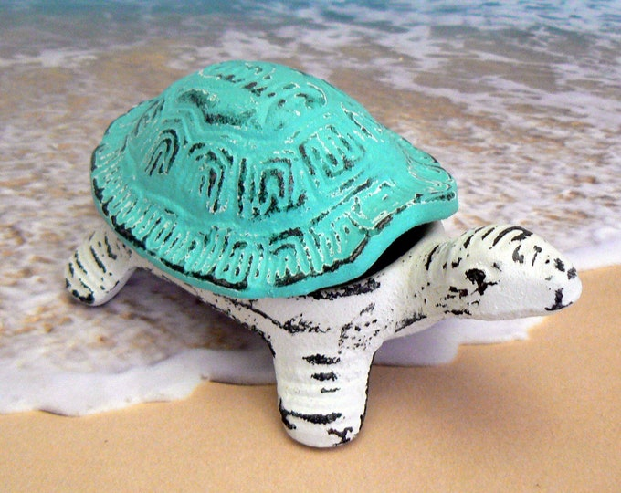 Turtle Trinket Dish Beach Blue Shabby Chic Garden Nautical Sea Life Tortoise Dish