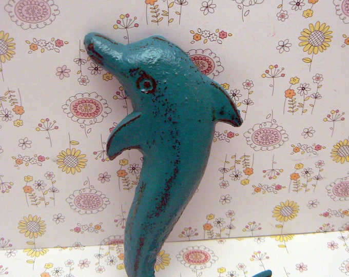 Dolphin Cast Iron Wall Hook Teal Blue Cottage Chic Shabby Chic Nautical Beach House Home Decor