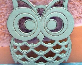 Owl Trivet Hot Plate Beach Light Blue Cottage Chic Shabby Elegance Distressed Kitchen Rustic Woodsy Decor Beachy Nautical Ornate Cast Iron
