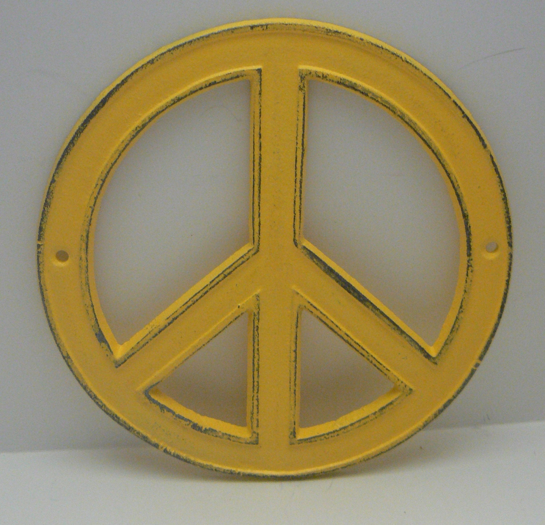 Peace Sign Cast Iron Yellow Wall Art Shabby Chic Retro 70\'s Home Decor