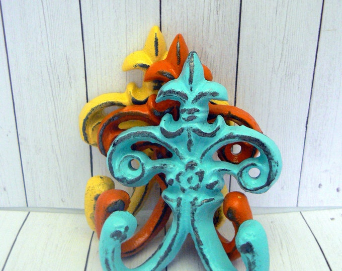 "Fleur de lis Cast Iron Turquoise Yellow Orange 3 1/2"" Mini Petite FDL Set 3 Hooks French Shabby Chic"