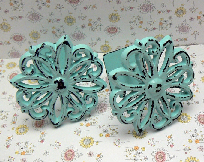Floral Petal Curtain Drapery Pull Tie Back Shabby Elegance 2 ea equals One Pair Lt Beach Blue Cast Iron  French Nautical Decor Tiebacks