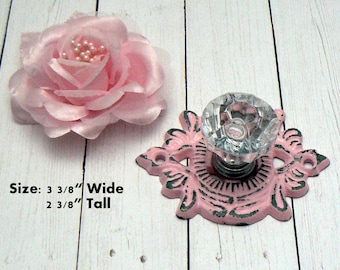 Cabinet Drawer Pull Medallion Flower Fleur Shabby Elegance Classic PINK Cast Iron Backplate acrylic Knob French Paris Do It Youself DIY