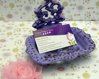 Victorian Business Card Holder Lavender Lilac Shabby Chic Desk Office Trinket Holder