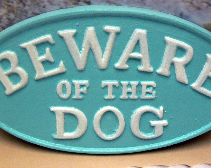 Beware of the Dog Cast Iron Sign Cottage Beach Blue White Gate Fence Home Decor
