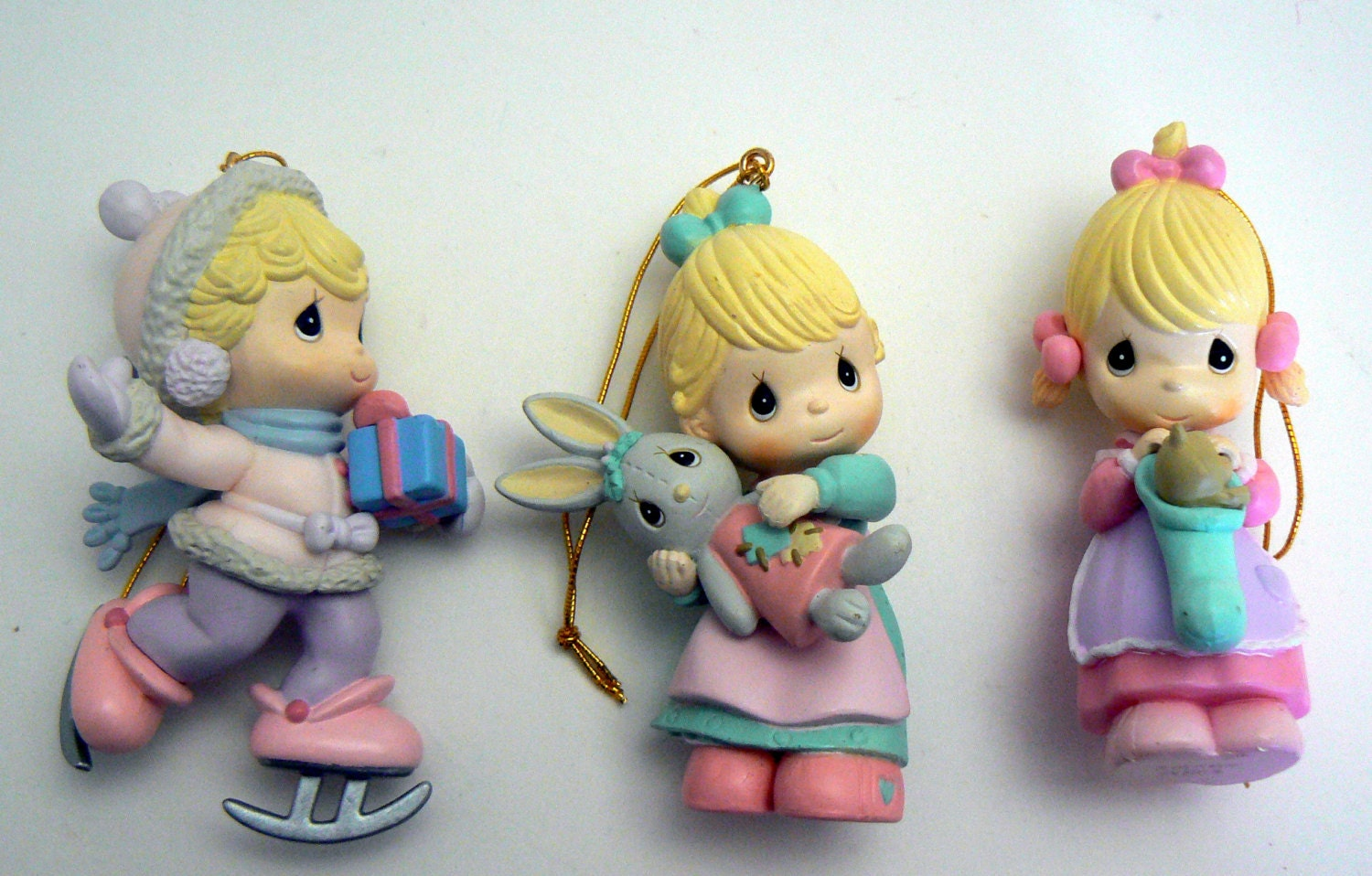 precious moments christmas ornament lot 3 girl holiday collection - Precious Moments Christmas Ornaments