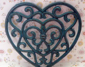 Heart Cast Iron Trivet Hot Plate Lagoon Teal Blue Distressed Shabby Style Chic Ornate Swirly Heart Shaped Fleur de lis Center French Decor
