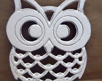 Owl Trivet Hot Plate White White Shabby Elegance Distressed Kitchen Rustic Woodsy Decor Ornate Cast Iron