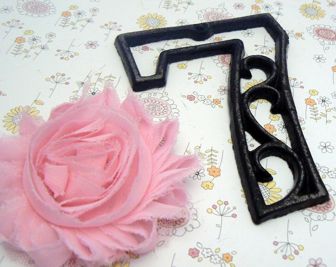 "House Mailbox "" Number 7 Seven "" 4.5 Inches Cast Iron Black Shabby Chic Victorian Table Address Accent Number #7"
