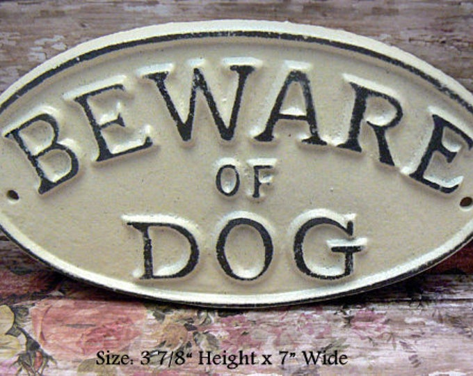 Beware of Dog Shabby Chic Small Cast Iron Sign Off White Gate Fence Home Decor