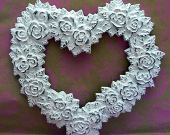 Rose Heart Ornate Decorative Cast Iron Wall Decor Plaque in White Distressed Shabby Elegance French Decor, Paris,