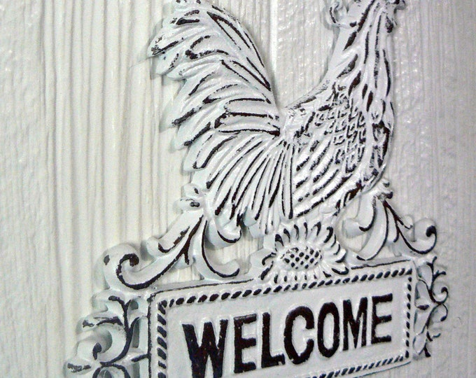 Rooster Welcome Sign on Chain Shabby Chic White Cast Iron French Country Farmhouse
