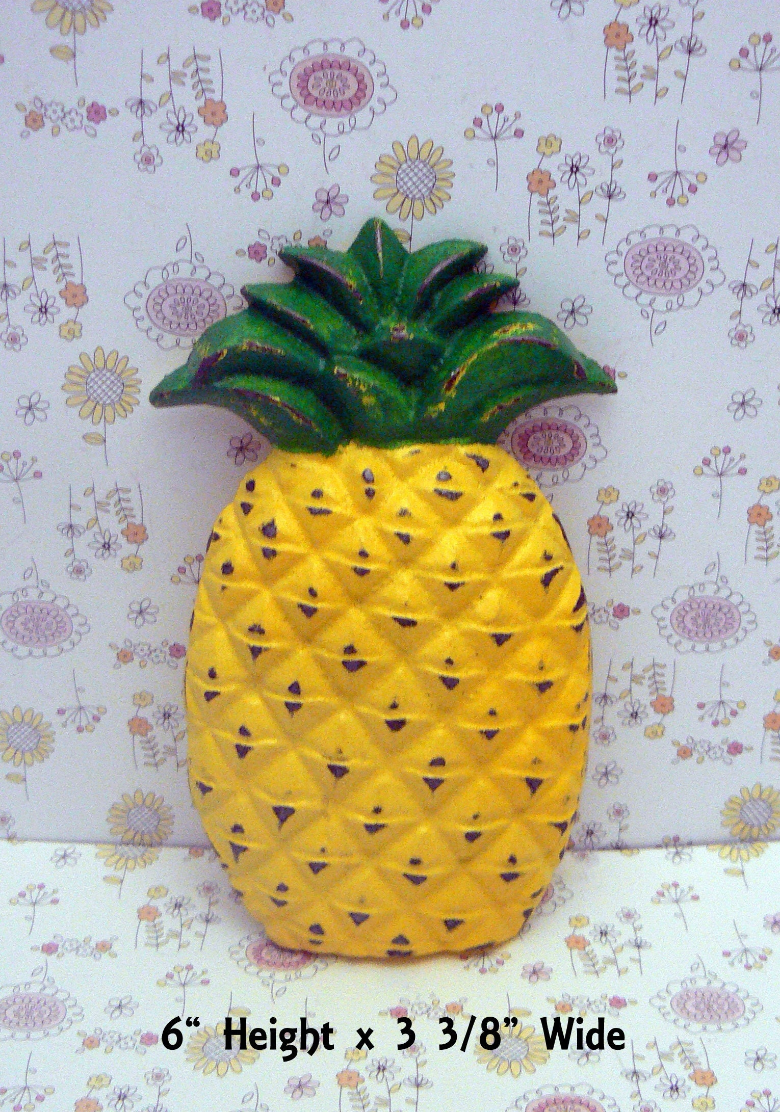Pineapple Cast Iron Shabby Chic Tropical Symbol Of Hospitality Green