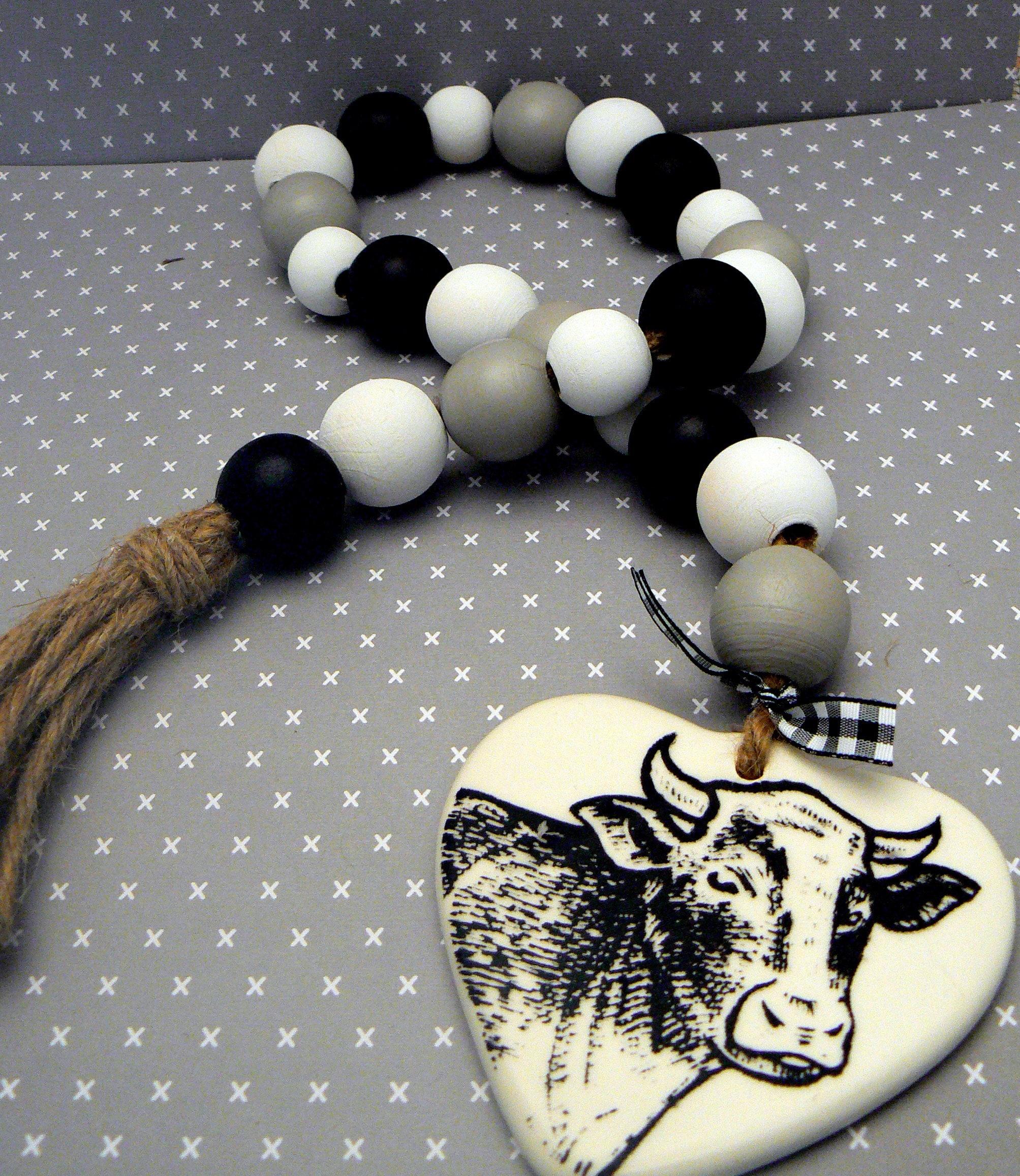 Farmhouse Wood Bead Garland Cow Twine Tassel Black White Gray Jar Jewelry