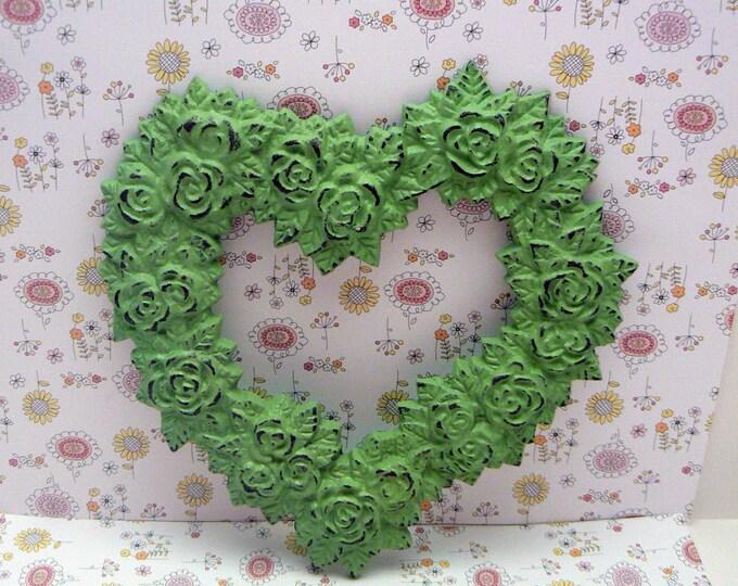 Rose Heart Ornate Decorative Cast Iron Wall Decor Plaque Pistachio Light Green Distressed Shabby Elegance French Decor, Paris,