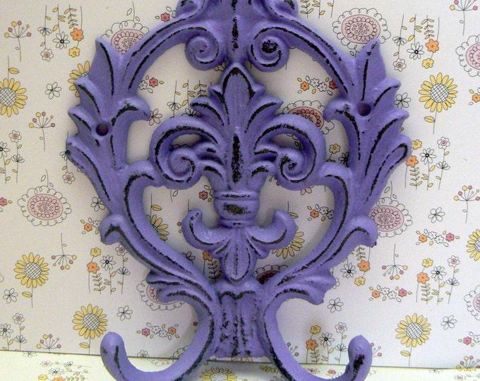 Fleur de lis Cast Iron FDL Shabby Chic Purple Lavender Wall Hook Home Decor