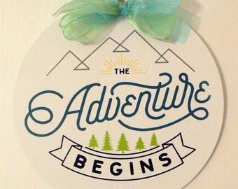 Chalk Couture The Adventure Begins Round White Metal Sign Chalkology Paste Design