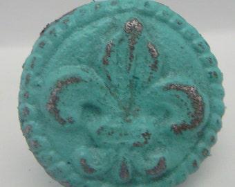 Fleur de lis Cast Iron Round Drawer Pull Knob Cabinet Knobs Shabby Elegance Distressed Rustic French Decor Aqua / Turquoise FDL