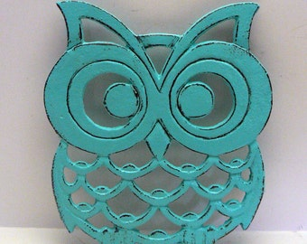 Owl Trivet Hot Plate Bright Turquoise Shabby Elegance Distressed Kitchen Rustic Woodsy Decor Aqua Blue Ornate Cast Iron