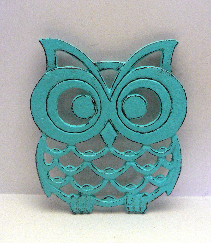 Cast Iron Owl Trivet Turquoise Shabby Chic Woodland Kitchen Hot ...