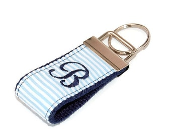 oversize tag backpack Handmade key fob  key holder with initial embroidered tag personalized Navy with gold and red back to school