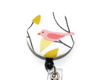 Pink Bird Badge Reel with Retractable ID Name Tag Holder and your Choice of Clip