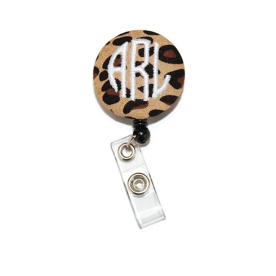 Personalized Cheetah Print Beaded ID Name Badge Reel