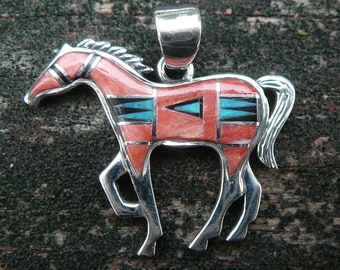 Sterling Silver Southwestern Style Horse Pendant - Spiny Oyster/Turquoise