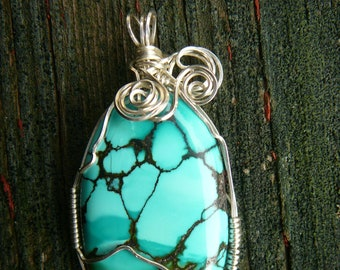 Genuine Turquoise Pendant - Wire-Wrapped