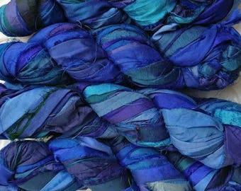 Bright Blue Sari Silk Ribbon Yarn - 100gm Skeins