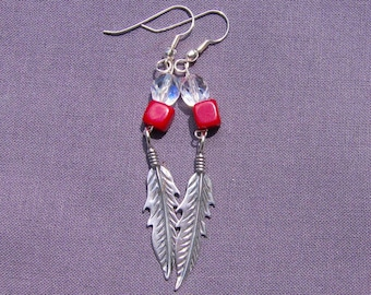 Sterling Silver Feather Earrings with Red Coral and Crystals
