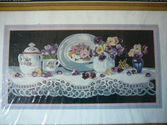 Elsa Williams Crewel Embroidery Kit Wild About Pansies Etsy