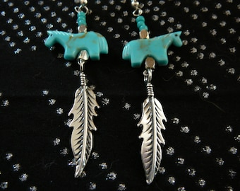 TURQUOISE Horse Fetish Earrings with STERLING Silver Feathers