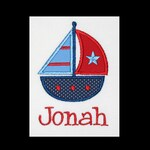 Custom Personalized Applique SAILBOAT and NAME Bodysuit or Shirt - Red, Navy, and Lt Blue