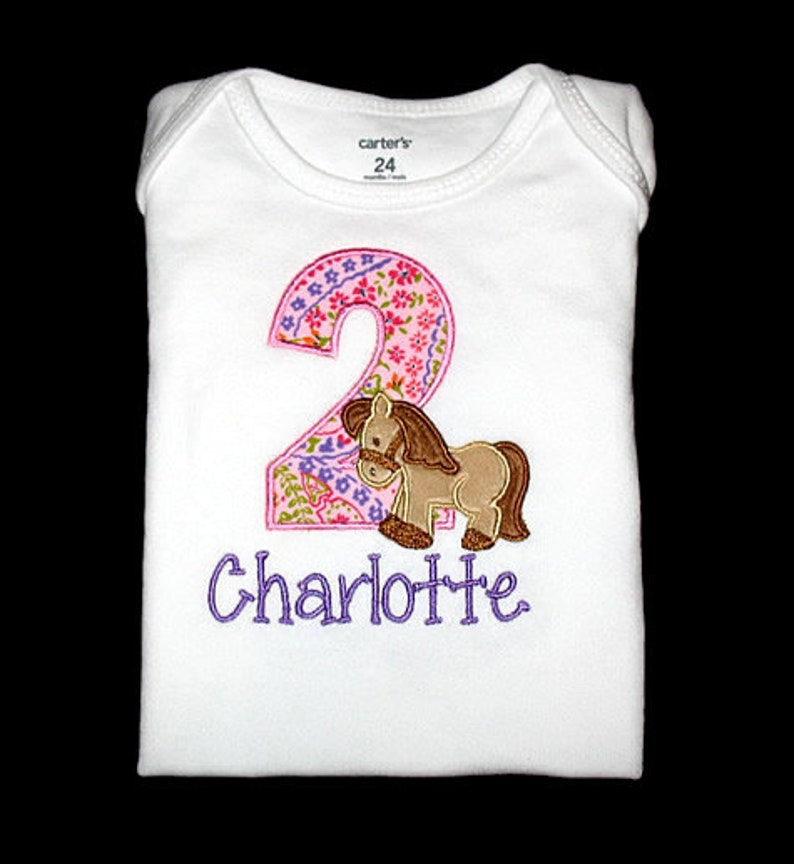Personalized Applique Birthday Number with Furry Minky HORSE image 0