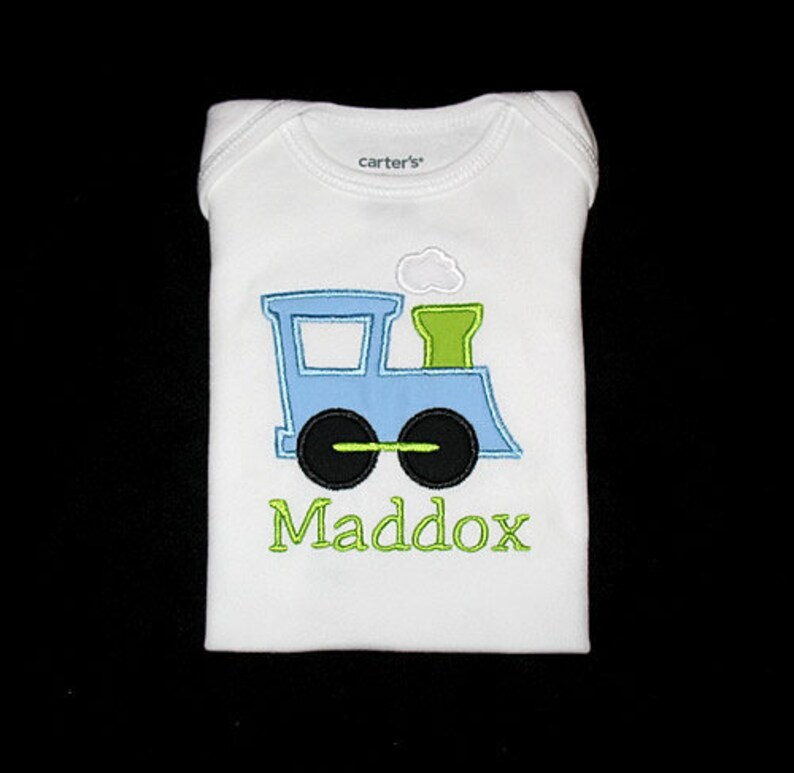 Custom Personalized Applique TRAIN and NAME Bodysuit Shirt image 0