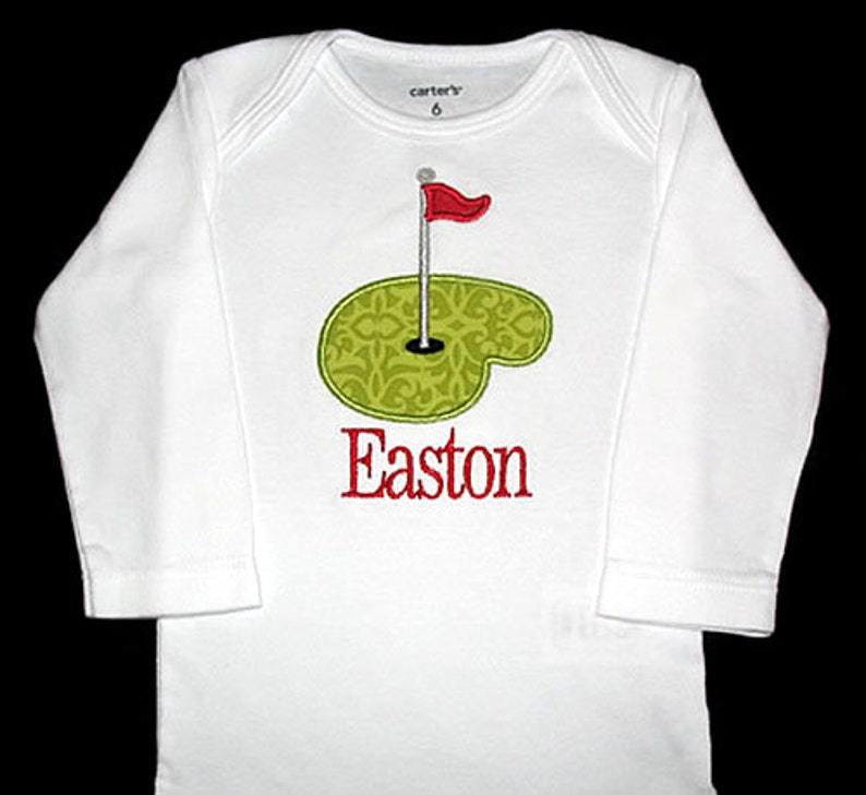 Custom Personalized Applique PUTTING GREEN and NAME Shirt image 0