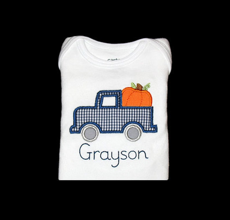 Personalized Applique Fall TRUCK with PUMPKIN and Vintage image 0