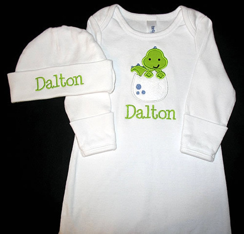 Custom Personalized Applique DINOSAUR in EGG and NAME or Just image 0