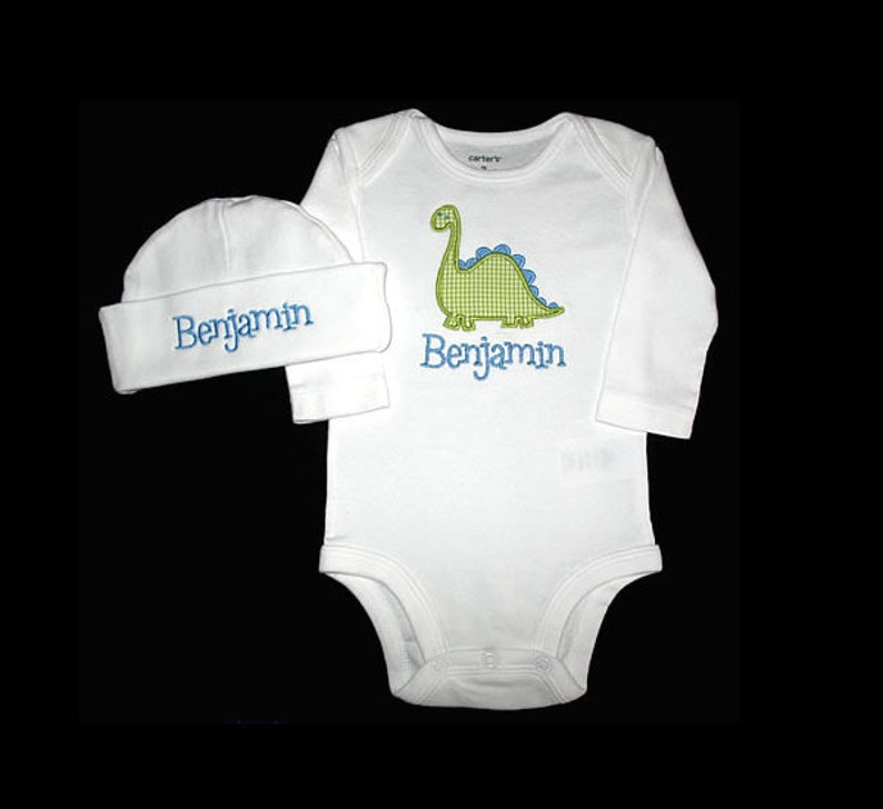 Custom Personalized Applique DINOSAUR and NAME Bodysuit and image 0