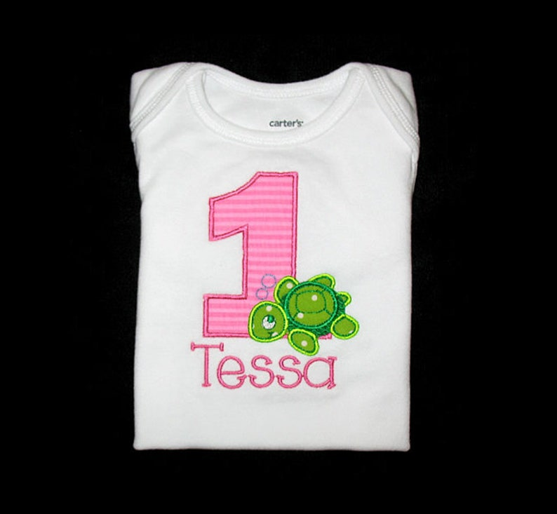 Personalized Applique Birthday Number with SEA TURTLE and NAME image 0