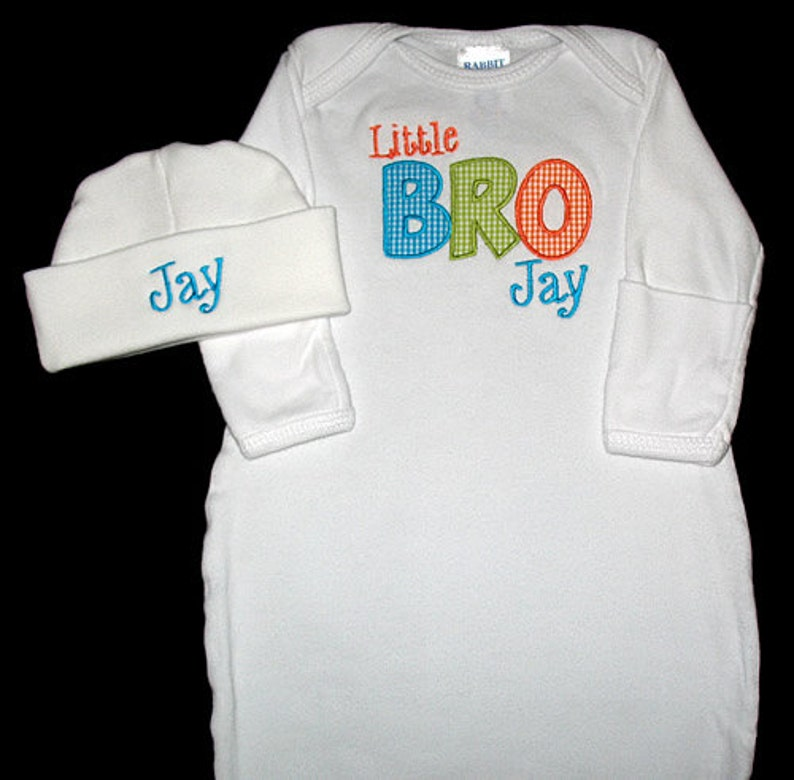 Custom Personalized Applique LITTLE BRO and NAME Gown and Hat image 0