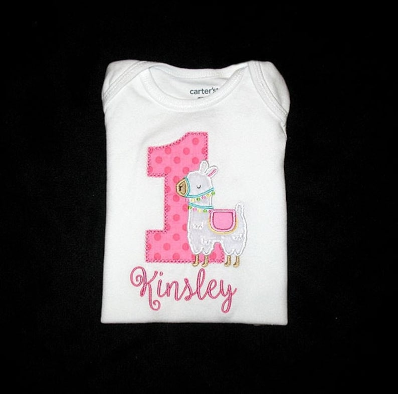 Personalized Applique Birthday Number with Furry Minky LLAMA image 0