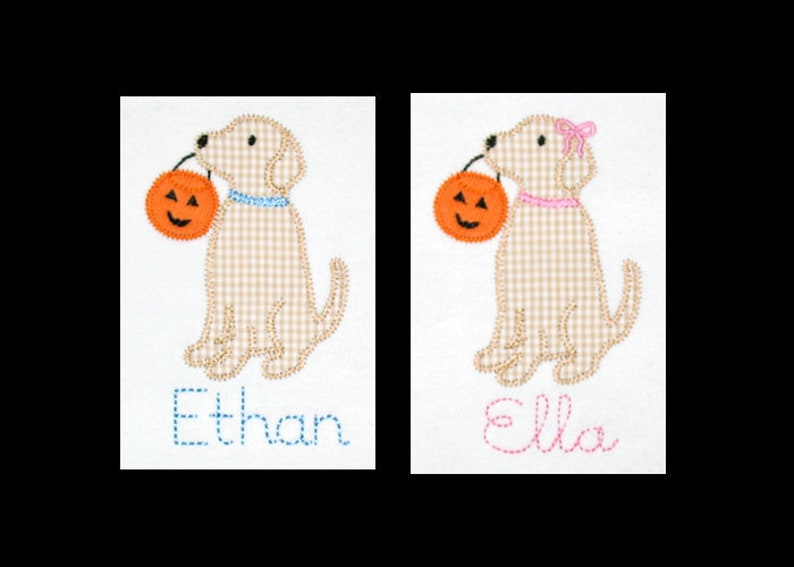 Personalized Applique Vintage Stitch Boy or Girl Lab Puppy DOG image 0