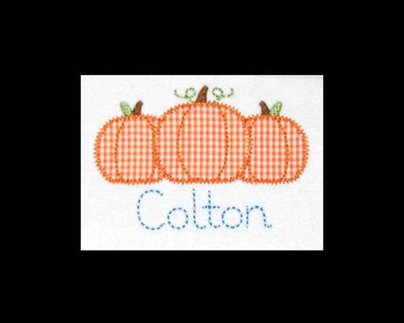 Personalized Applique Fall Vintage Stitch PUMPKIN TRIO and image 0