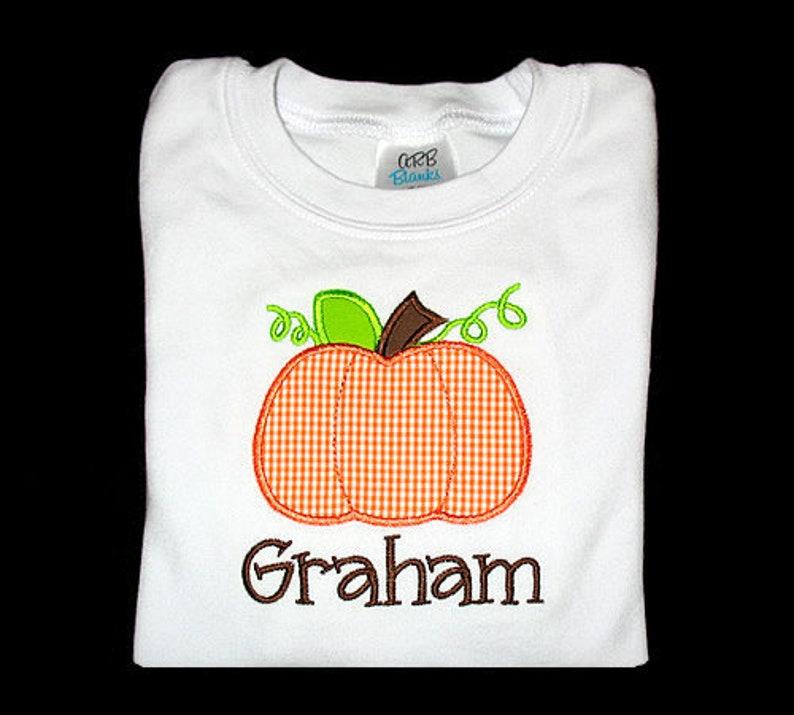 Custom Personalized Applique Fall PUMPKIN and NAME Shirt image 0