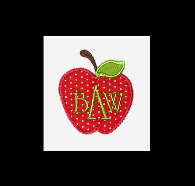 Personalized Applique Fall Back to School APPLE and 3 Initial image 0