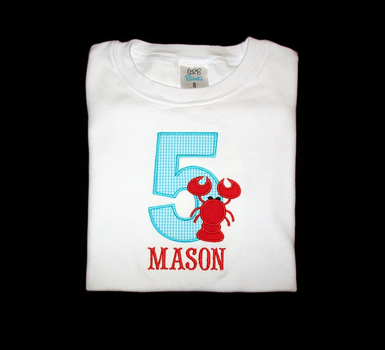 Custom Personalized Applique Birthday Number with LOBSTER and image 0