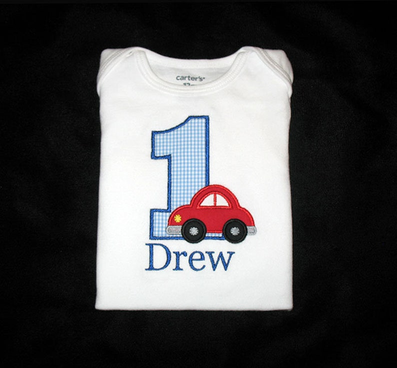 Personalized Applique Birthday Number with CAR and NAME Shirt image 0
